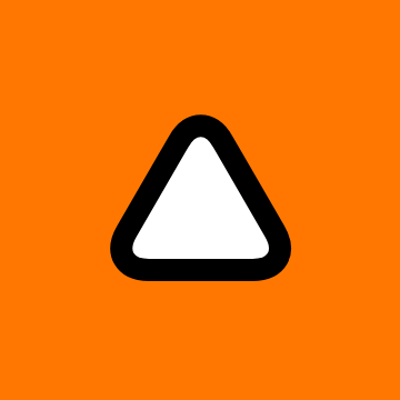 A white equilateral triangle with rounded corners and a black border on a bright orange background
